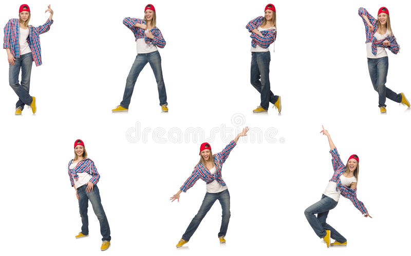 A colagem da dança da mulher isolada no branco fotos de stock