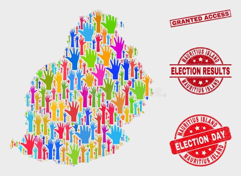 A colagem da eleição Mauritius Island Map e da aflição concedeu a filigrana do acesso ilustração royalty free
