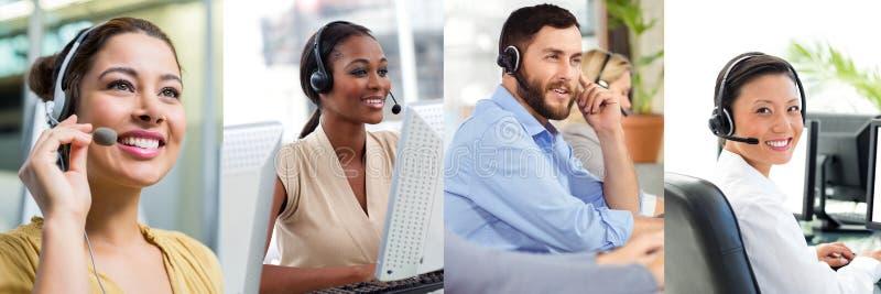 Colagem da equipe da ajuda do serviço ao cliente no centro de atendimento imagem de stock royalty free