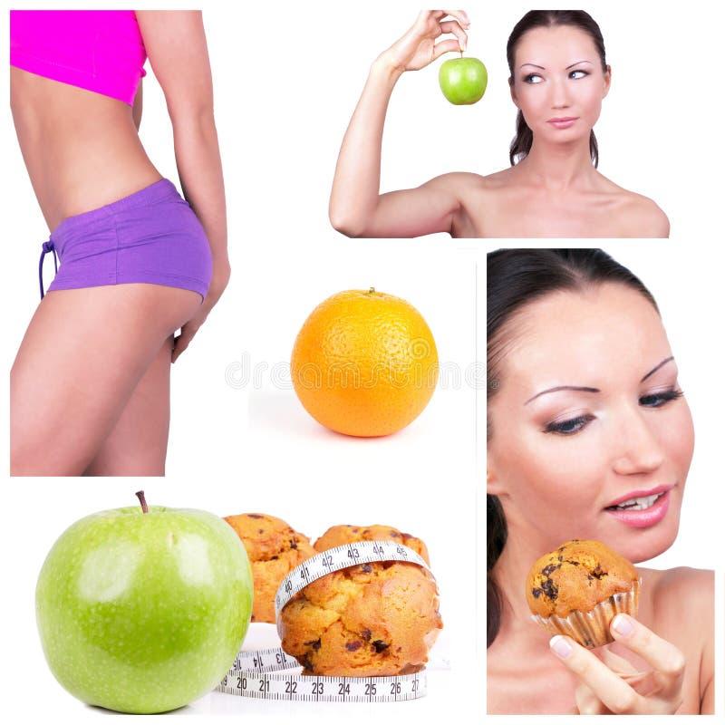 Colagem da escolha da dieta fotografia de stock