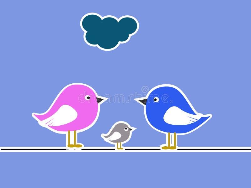 Colagem da família de pássaro ilustração do vetor