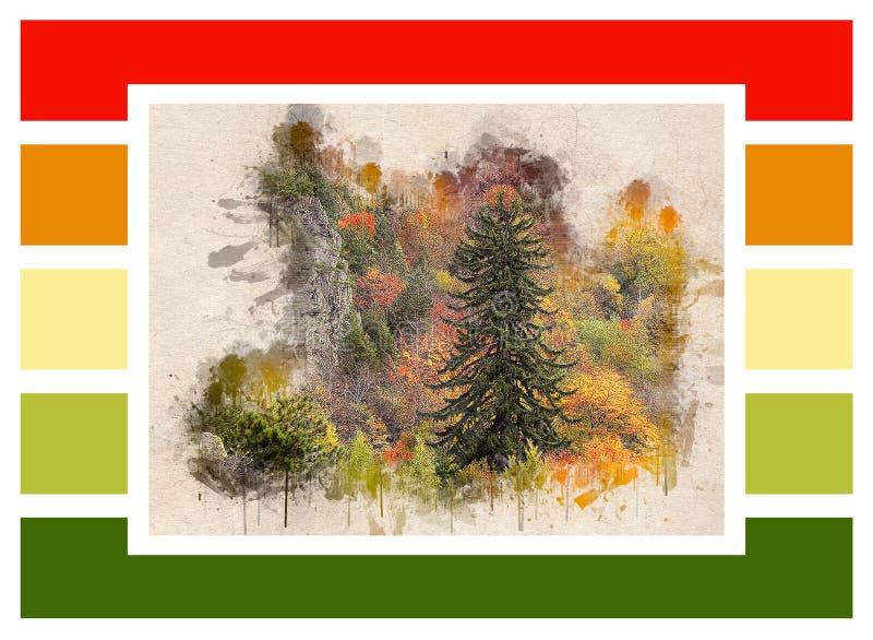 Colagem da floresta do outono e de retângulos coloridos ilustração stock