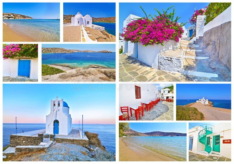 Colagem da foto da ilha Cyclades Grécia de Sifnos foto de stock royalty free
