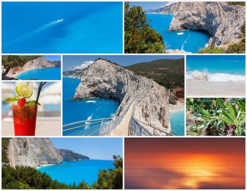 Colagem da foto da ilha grega Lefkada fotografia de stock royalty free