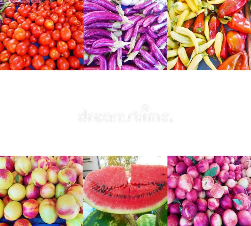 Colagem da foto das frutas e legumes imagens de stock