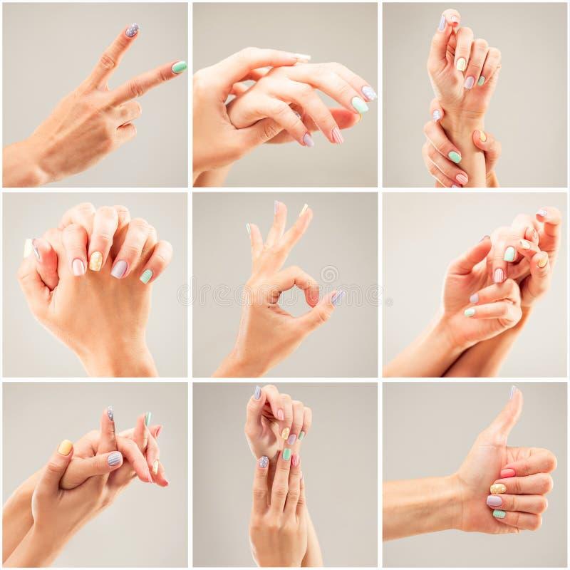 Colagem da foto das mãos de uma mulher imagens de stock royalty free