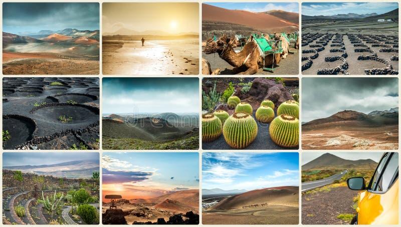Colagem da foto das paisagens da ilha Lanzarote fotografia de stock royalty free