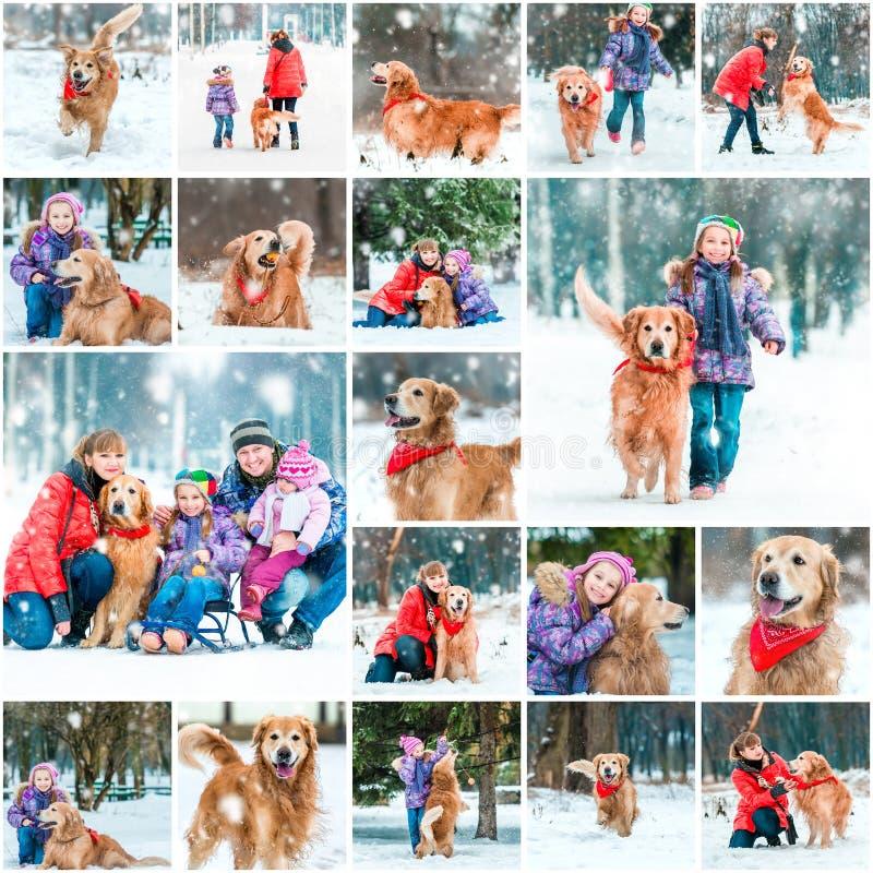 Colagem da foto de caminhadas do inverno fotos de stock