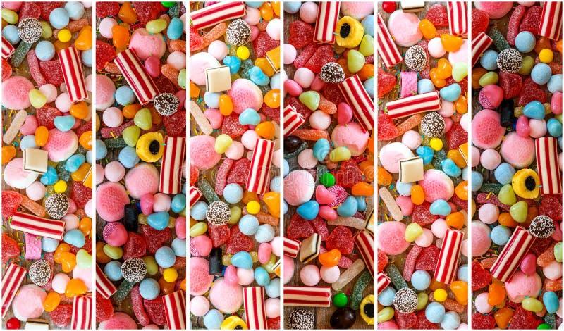 Colagem da foto de doces coloridos fotografia de stock royalty free