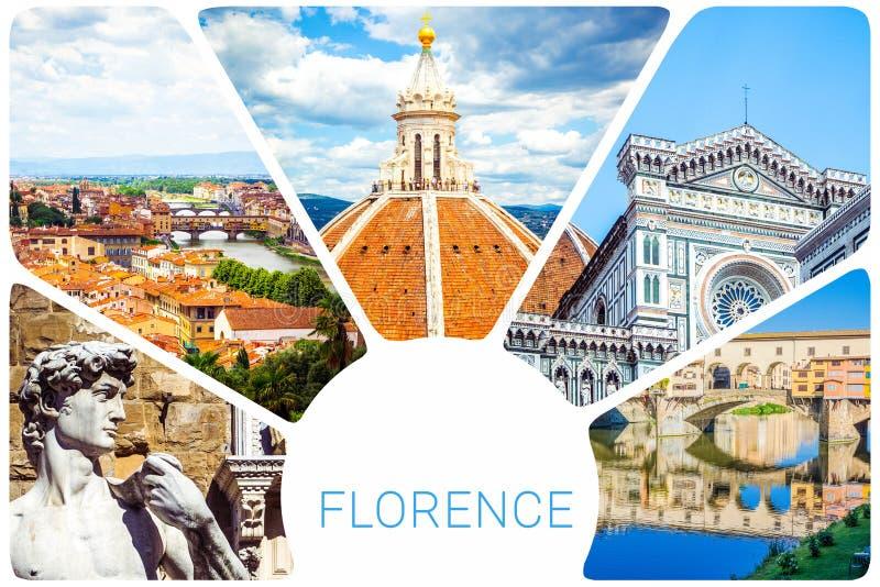 Colagem da foto de Florença - cúpula Brunelleschi, estátua de David por Michelangelo, Ponte Vecchio, catedral do del de Santa Mar foto de stock royalty free