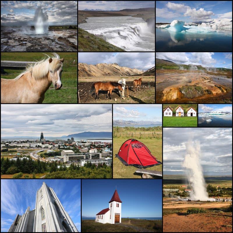 Colagem da foto de Islândia imagem de stock