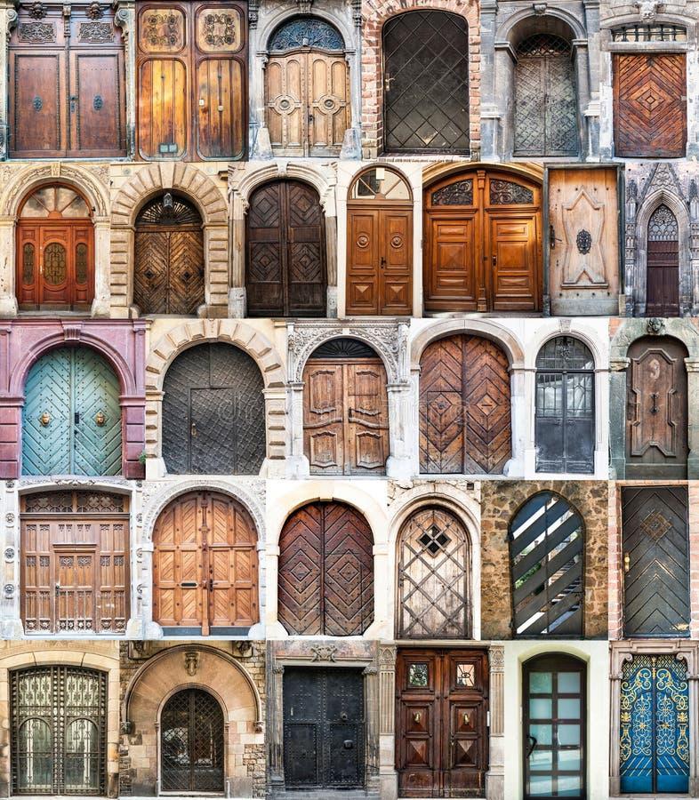 Colagem da foto de portas velhas imagens de stock