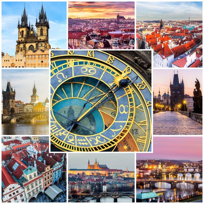 Colagem da foto de Praga, República Checa A colagem inclui o majo imagens de stock royalty free