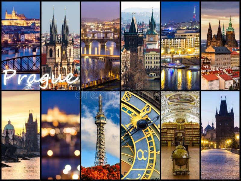 Colagem da foto de Praga, República Checa A colagem inclui o majo foto de stock royalty free