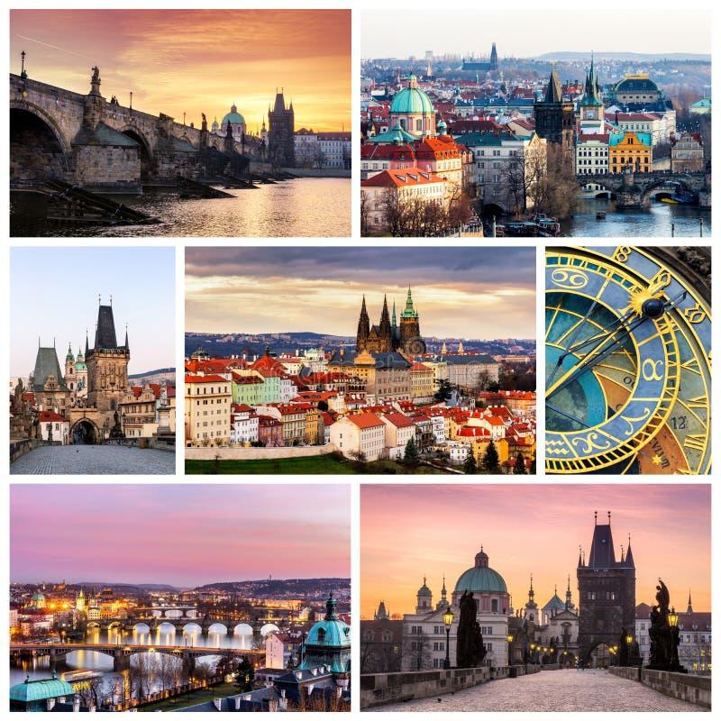 Colagem da foto de Praga, República Checa A colagem inclui o majo fotografia de stock