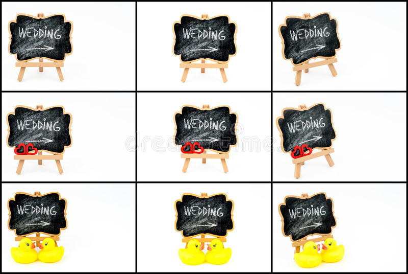 Colagem da foto de símbolos do casamento fotos de stock