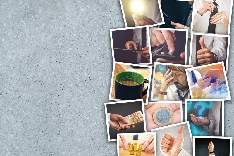 Colagem da foto do negócio e do empreendimento imagem de stock royalty free