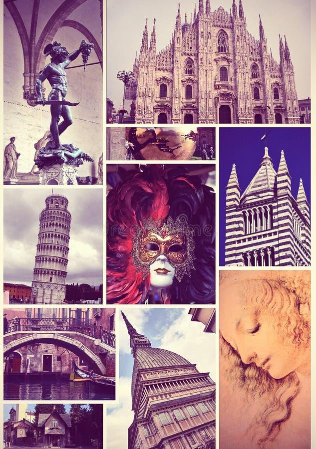 Colagem da foto do vintage do curso Italy imagem de stock