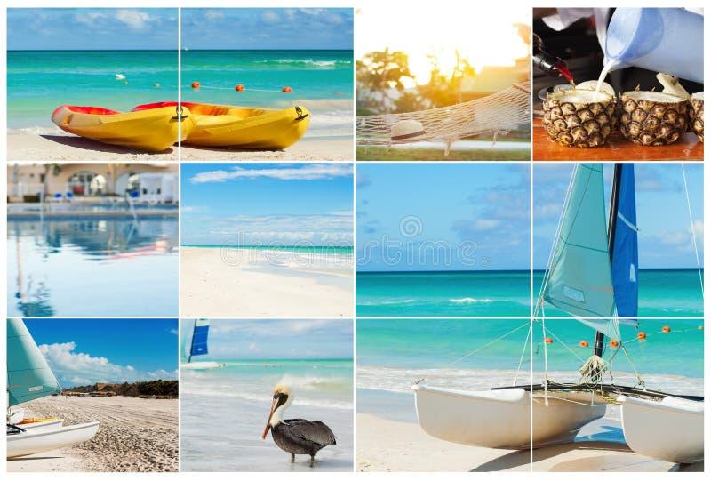 Colagem da foto da ilha tropical conceito do curso Cuba, Varadero fotografia de stock royalty free