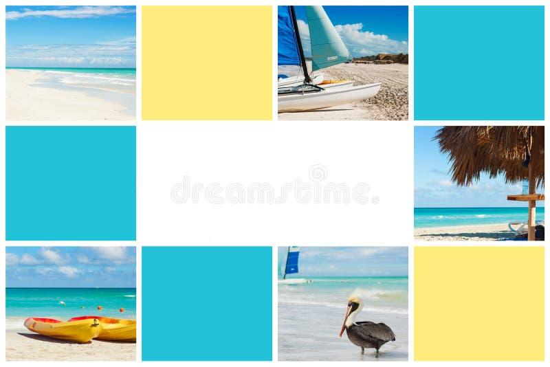 Colagem da foto da ilha tropical conceito do curso Cuba, Varadero Espa?o livre para o texto foto de stock royalty free