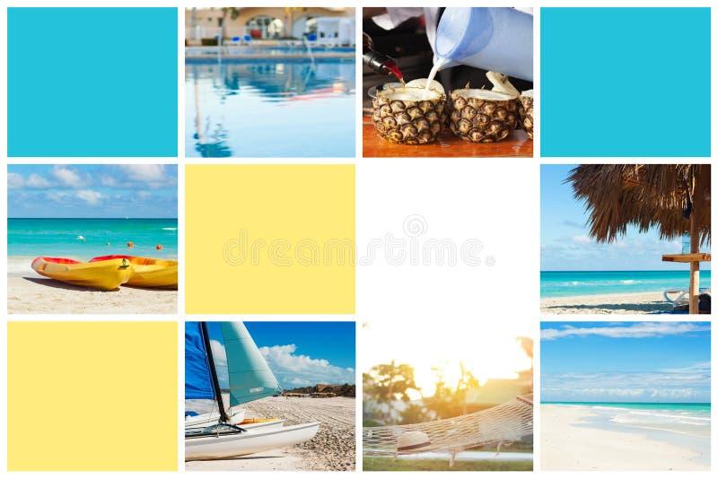 Colagem da foto da ilha tropical conceito do curso Cuba, Varadero lugar livre para o texto imagens de stock royalty free
