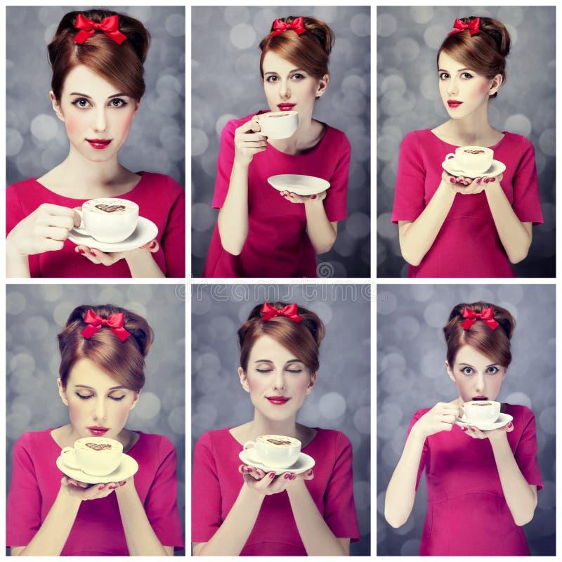Colagem da foto - menina do redhead com copo de café. St. Dia de são valentim imagens de stock royalty free