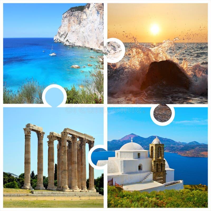 A colagem da foto no enigma remenda com fotos gregas fotografia de stock