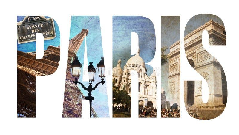 A colagem da foto rotula PARIS ilustração do vetor