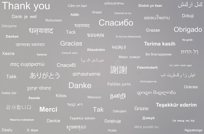 A colagem da frase agradece-lhe escrito em línguas diferentes ilustração stock
