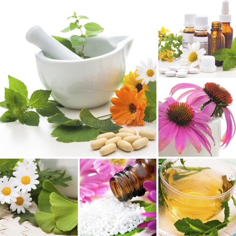 Colagem da homeopatia imagem de stock
