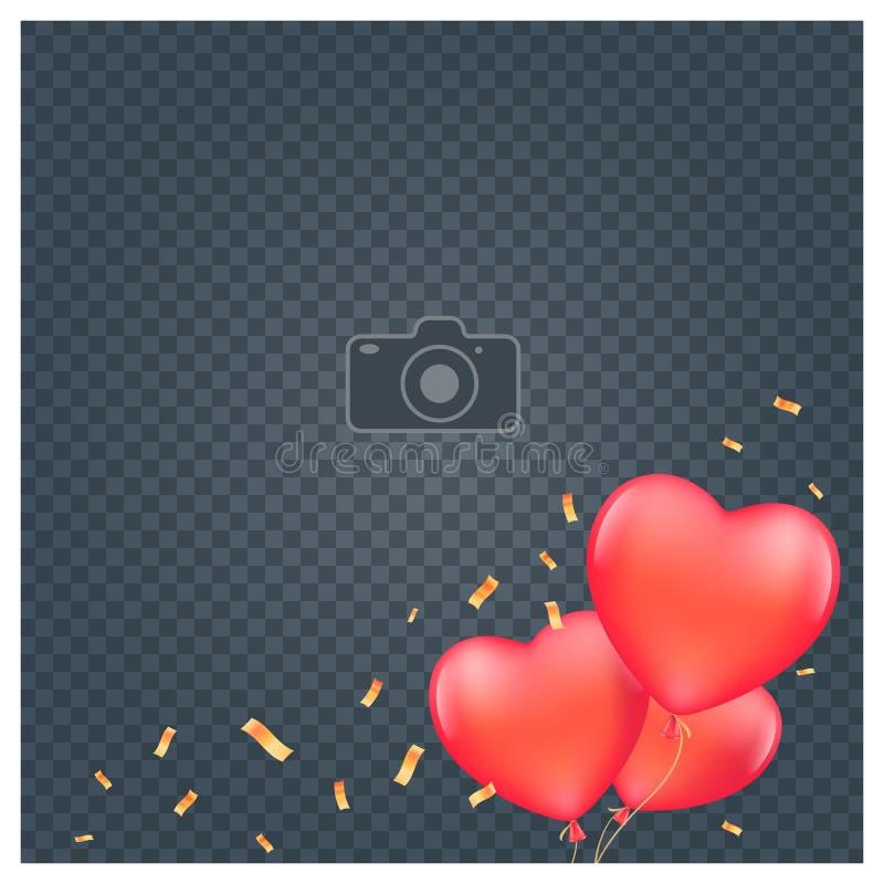 Colagem da ilustra??o do vetor do quadro da foto Projeto com elementos e quadro românticos do molde ilustração royalty free