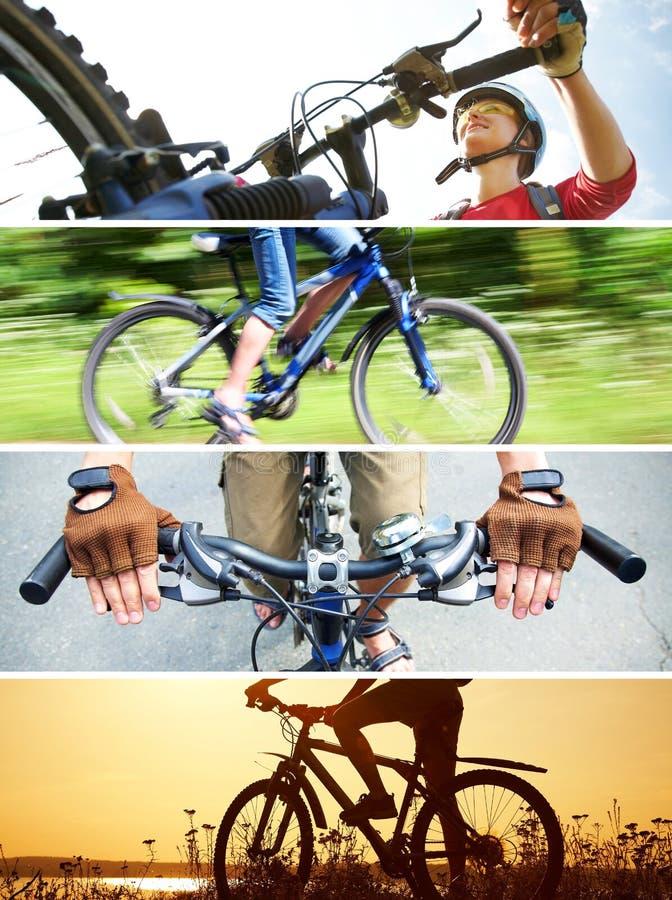Colagem da imagem bicycling imagens de stock royalty free
