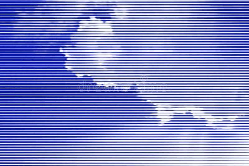 Colagem da imagem do céu azul com nuvens e raios de luz do sol de ilustração do vetor