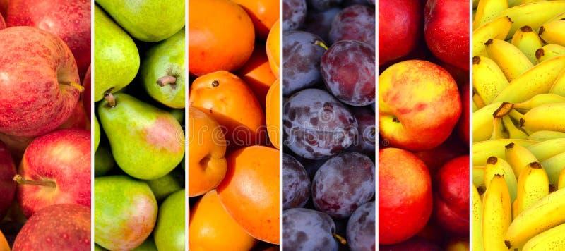 Colagem da imagem horizontal das texturas do fruto imagem de stock royalty free