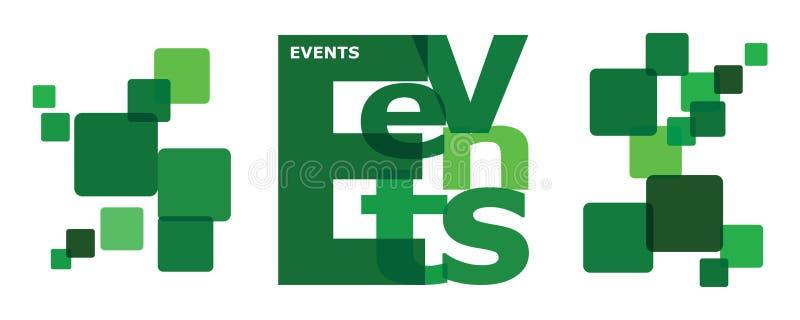 Colagem da letra da palavra dos EVENTOS para o calendário incorporado que vem acima ilustração stock