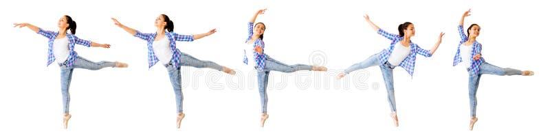 Colagem da menina de dança imagens de stock royalty free