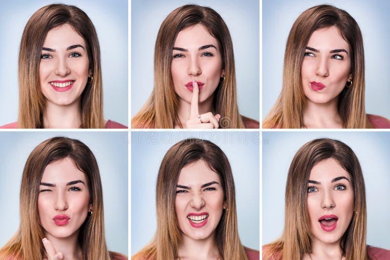 Colagem da mulher com expressões diferentes imagens de stock