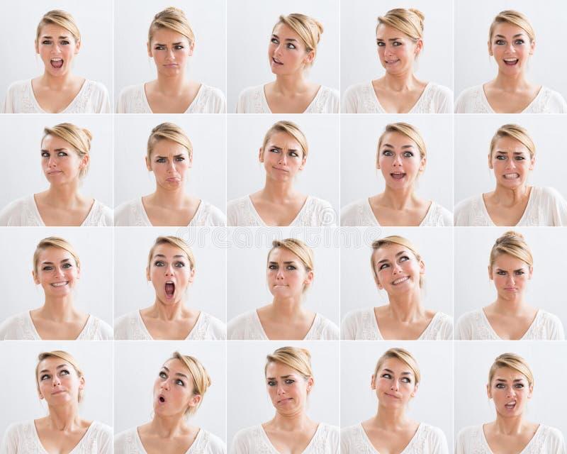 Colagem da mulher com várias expressões fotos de stock royalty free