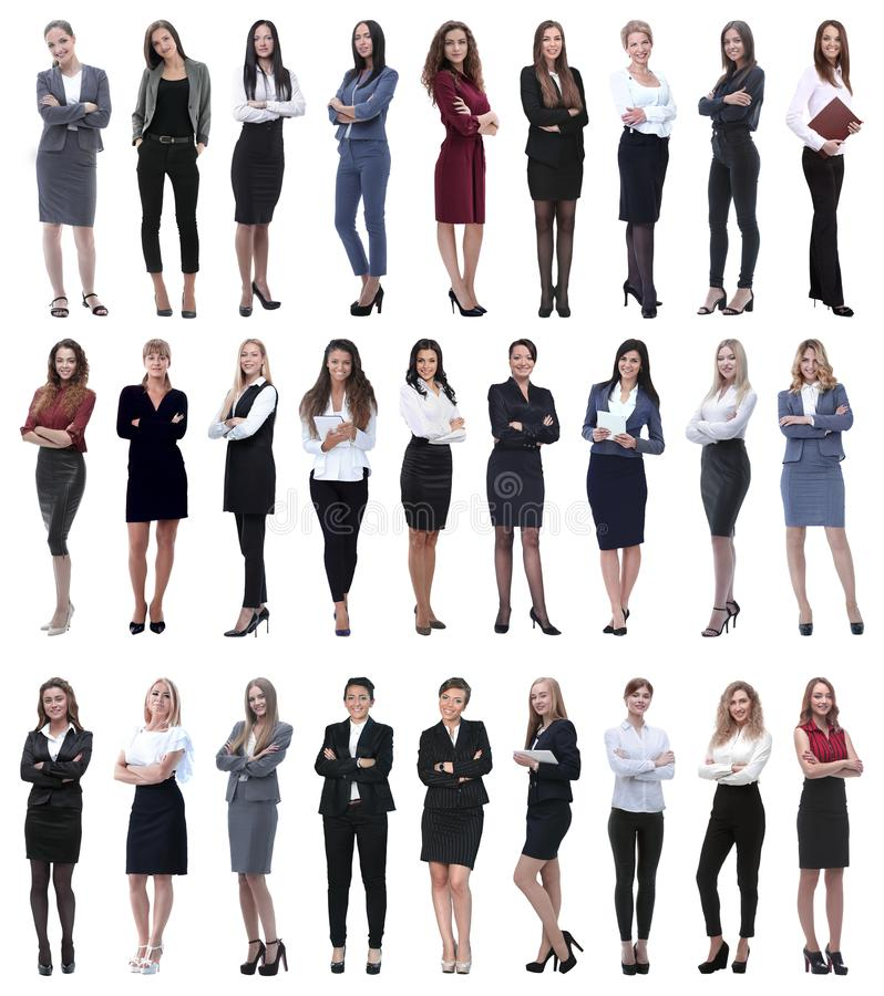 Colagem da mulher de negócios moderna bem sucedida Isolado no branco fotografia de stock royalty free