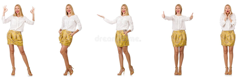 Colagem da mulher no olhar da forma isolada no branco imagens de stock