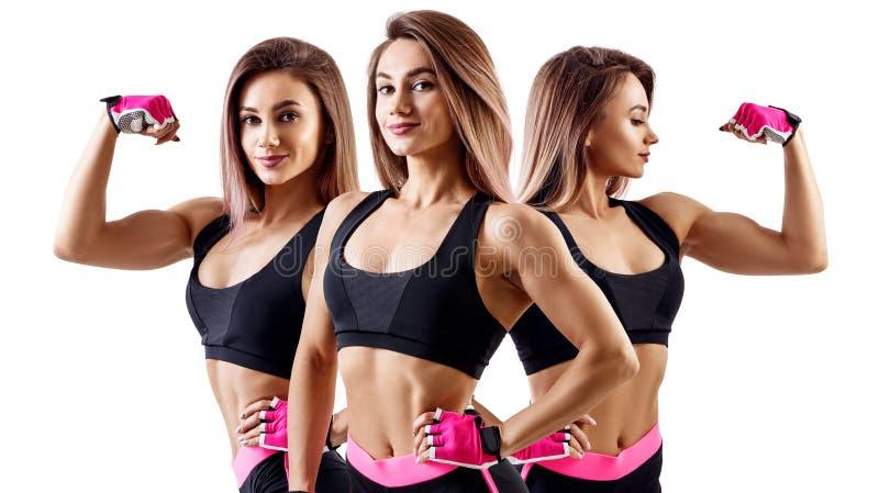 A colagem da mulher no sportswear demonstrou seu corpo atl?tico muscular imagens de stock royalty free