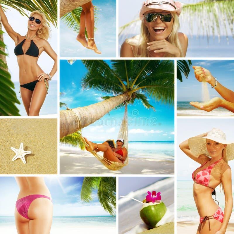 Colagem da praia fotografia de stock royalty free