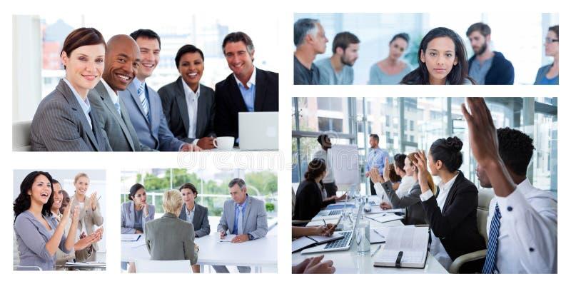 Colagem da reunião de negócios dos trabalhos de equipa foto de stock
