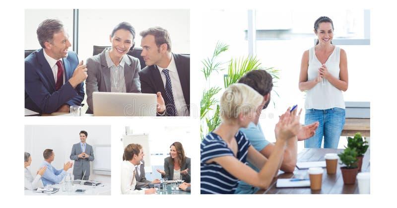 Colagem da reunião de negócios dos trabalhos de equipa fotografia de stock