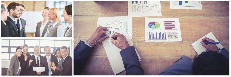 Colagem da reunião de negócios dos trabalhos de equipa imagens de stock