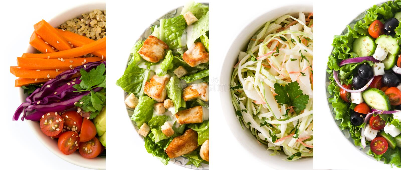 Colagem da salada saudável Salada grega, salada de massa, salada de Caesar e bacia da Buda foto de stock royalty free