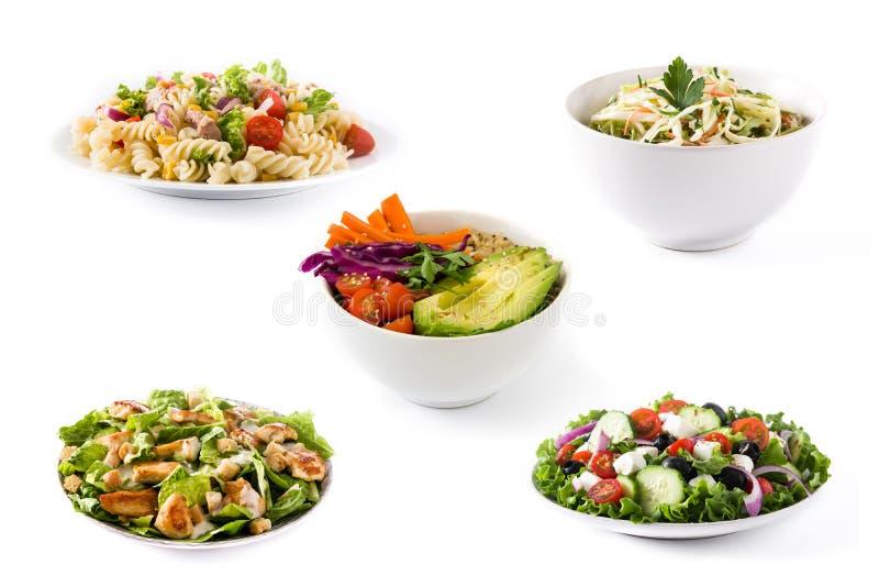 Colagem da salada saud?vel Salada grega, salada de massa, salada de Caesar e bacia da Buda imagem de stock royalty free