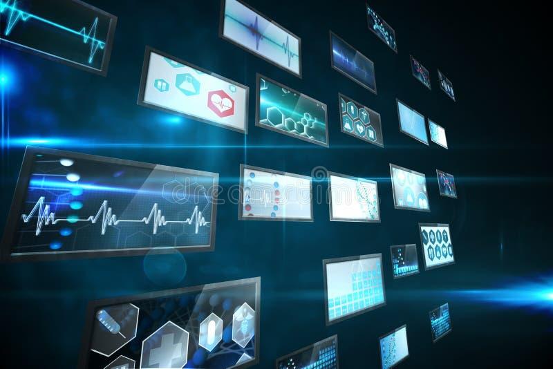 Colagem da tela que mostra imagens médicas ilustração royalty free
