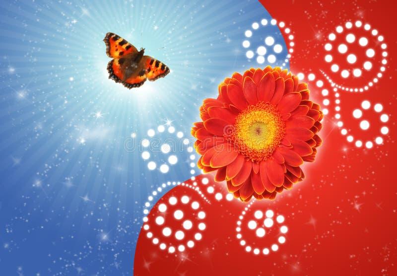 Colagem da urticaria-face da flor e da borboleta imagens de stock royalty free