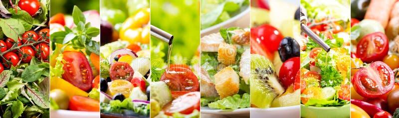 Colagem da vária salada fotografia de stock royalty free